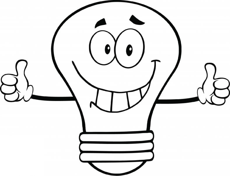 Light Bulb Coloring Page Cartoon
