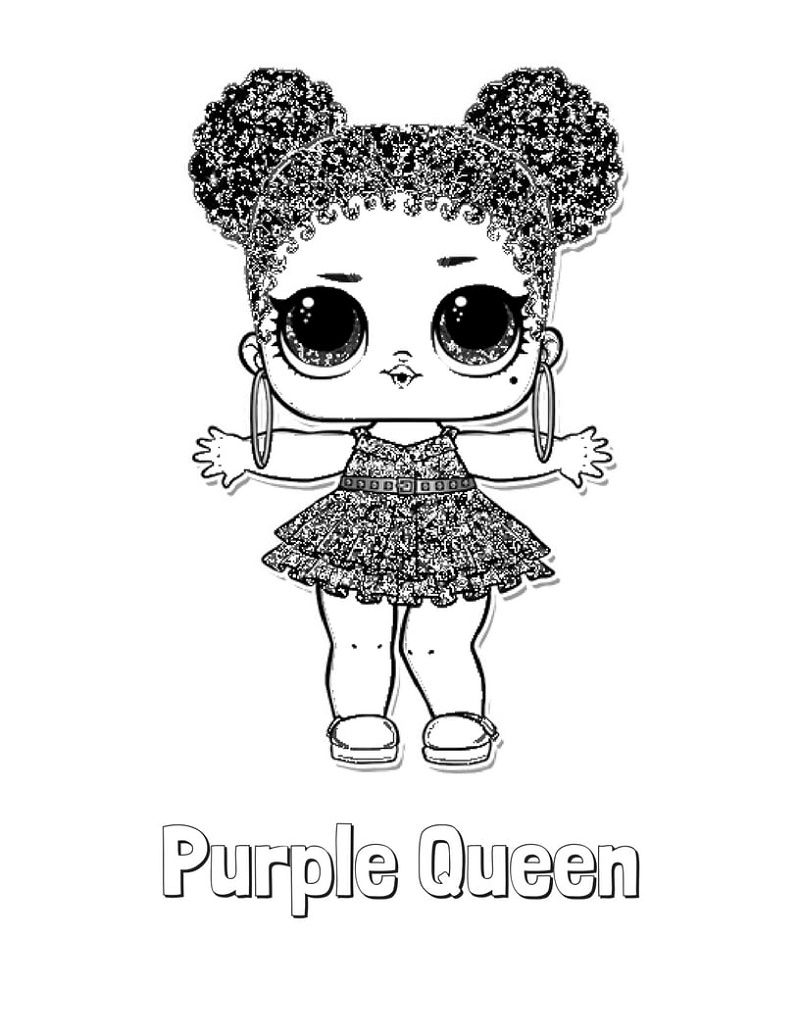 Lol Doll Coloring Pages Purple Queen
