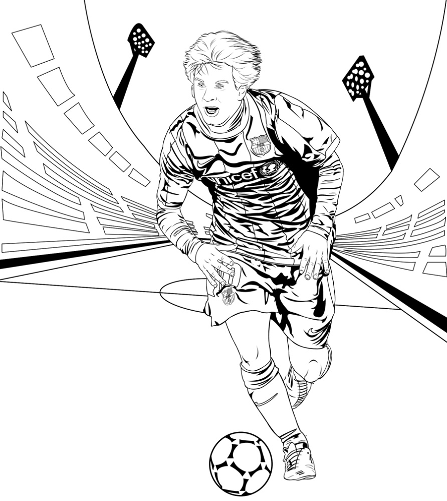 Messi Coloring Pages Fc Barcelona