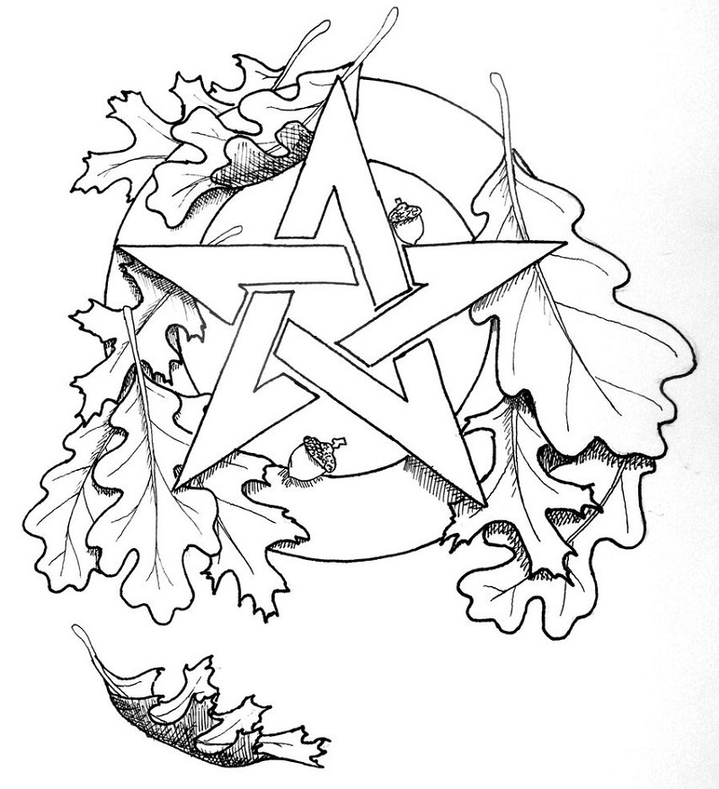 Pagan Coloring Pages Pentacle