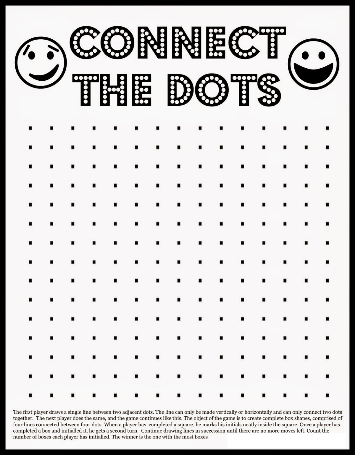 Printable Games For Kids Connect The Dot