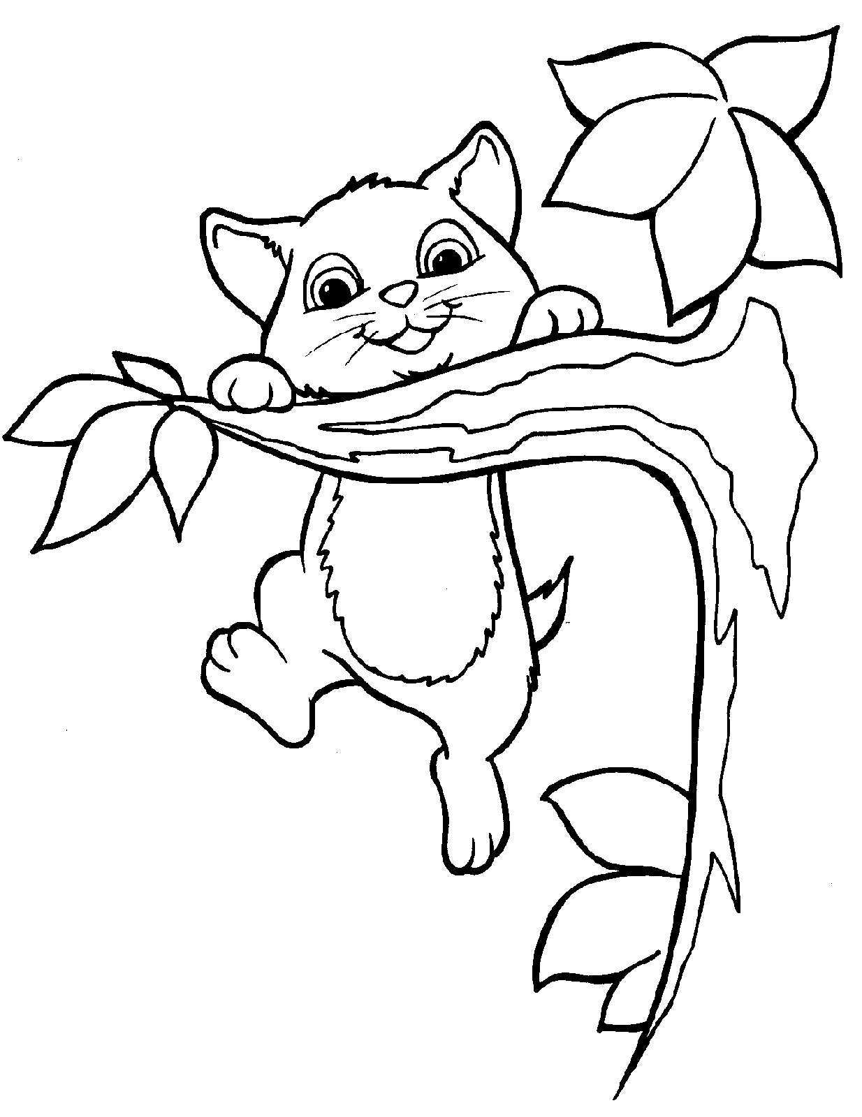 Printable Kitten Coloring Pages Tree