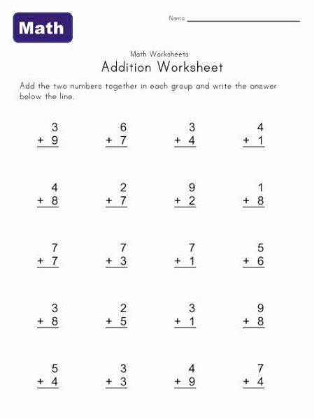 Printable Maths Paper Addition