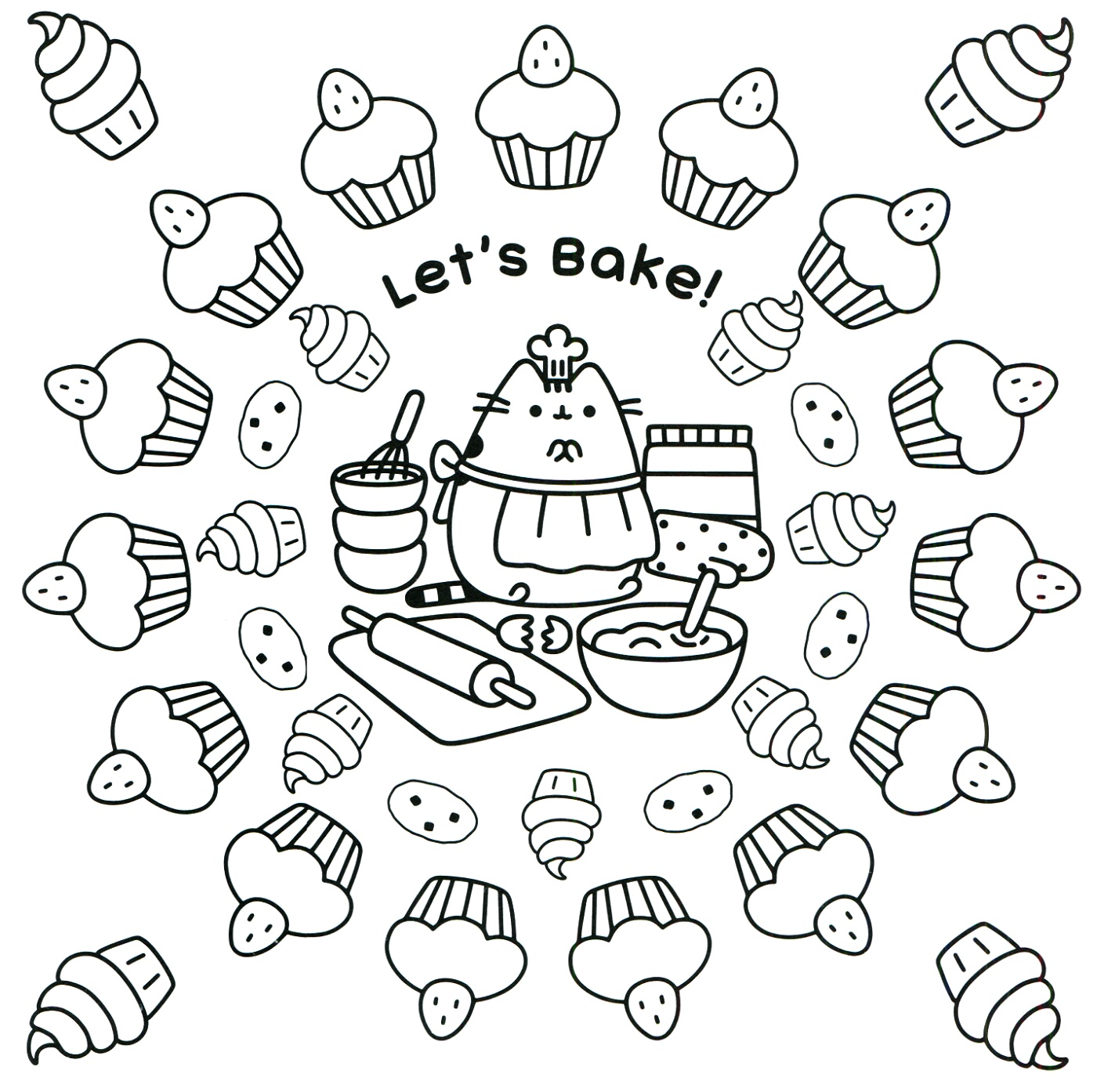 Pusheen Coloring Book Lets Bake
