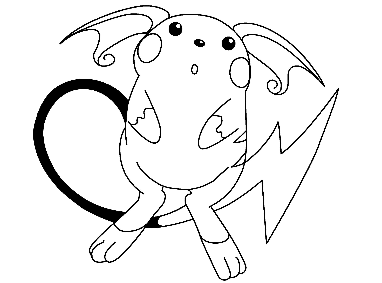 Raichu Coloring Page Cute