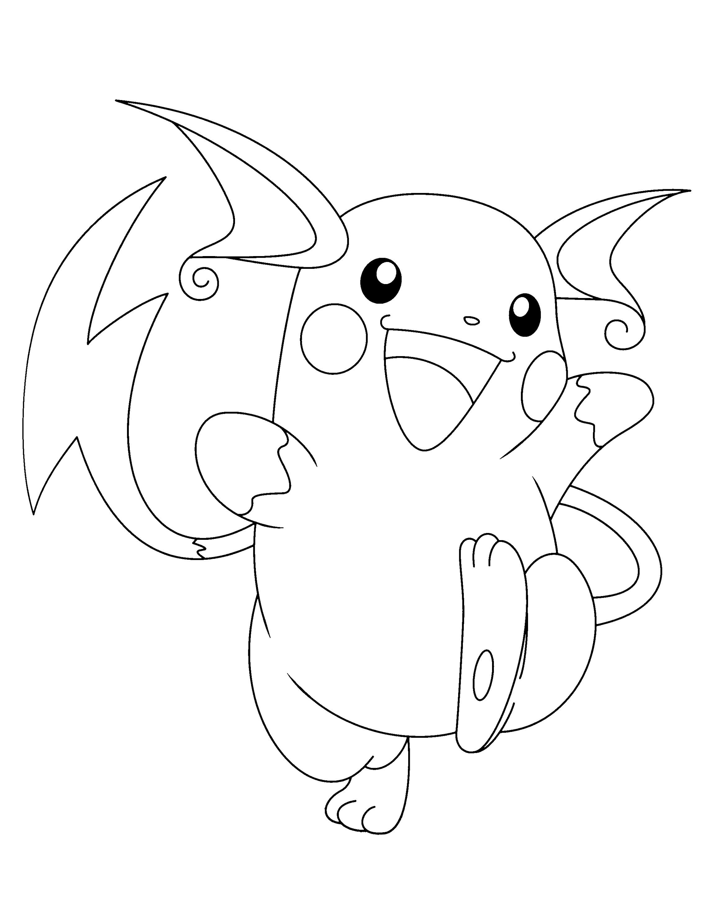 Raichu Coloring Page Pokemon