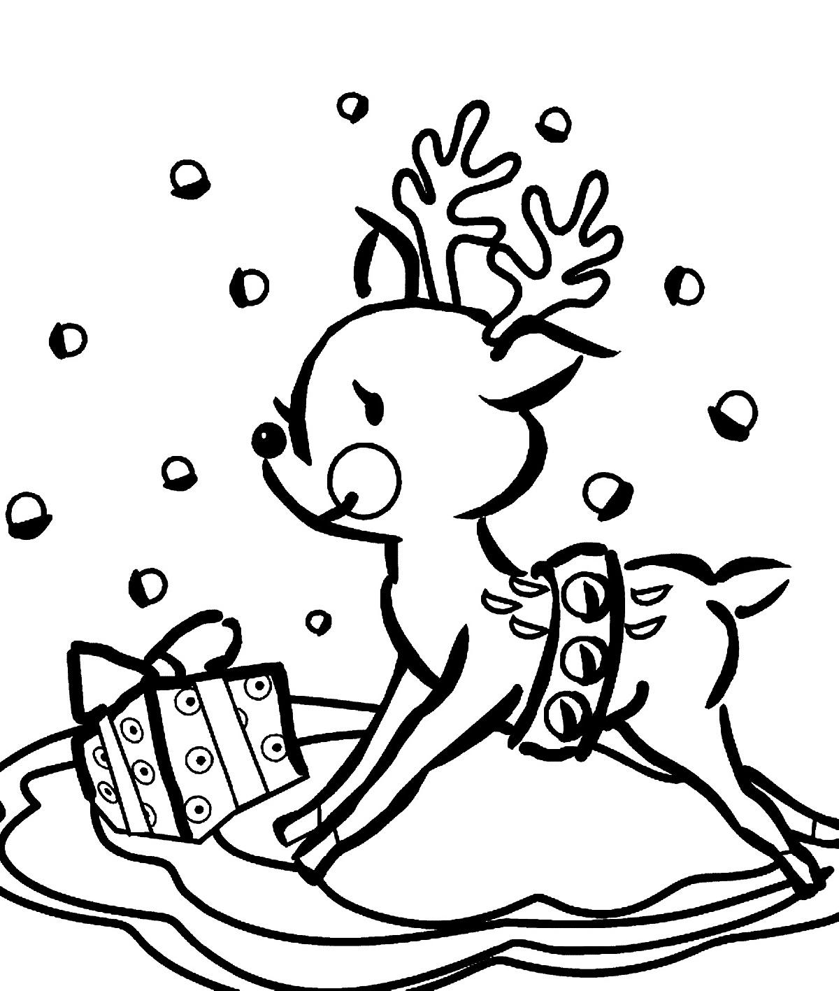 Reindeer Coloring Pages Cute