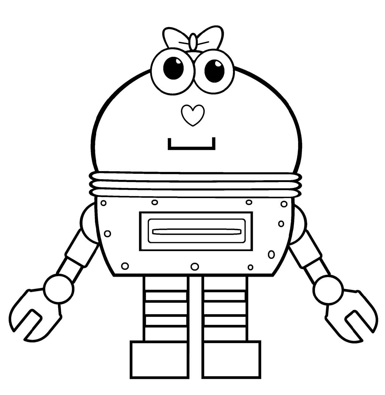 Robot Coloring Pages Girl