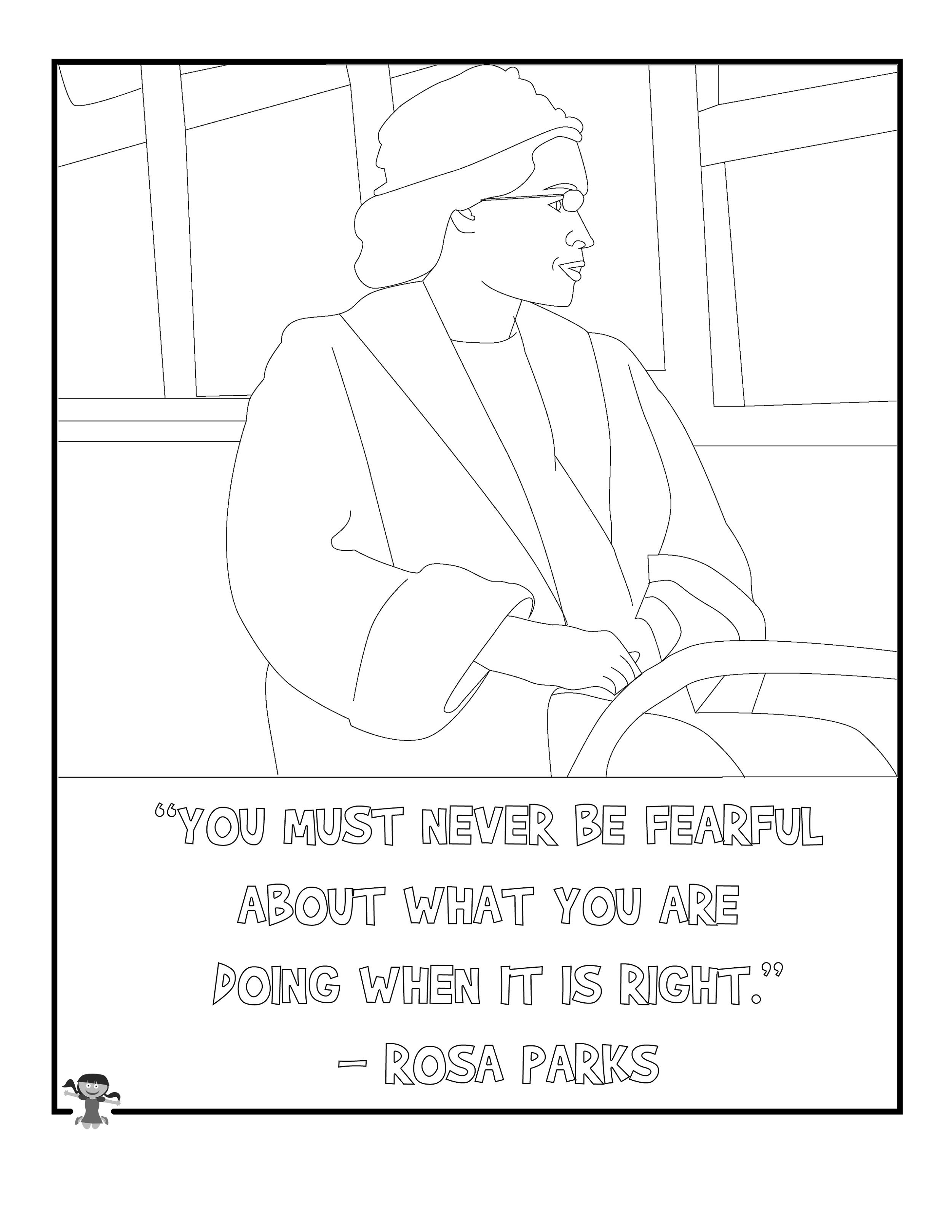 Rosa Parks Coloring Page Quotes