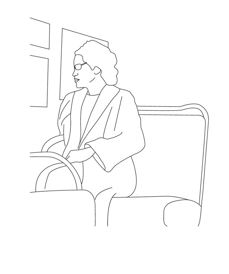 Rosa Parks Coloring Page Sitting