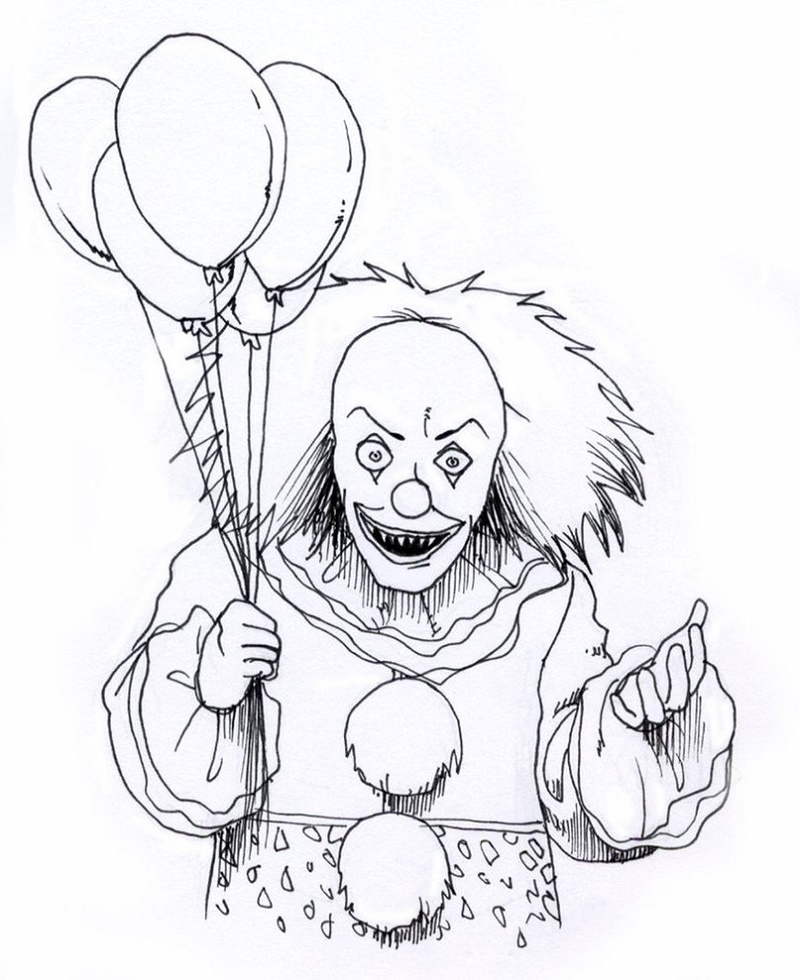 Scary Clown Coloring Pages Creepy