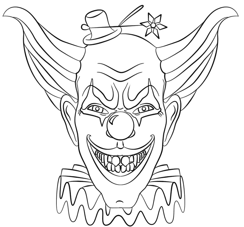 Scary Clown Coloring Pages Face