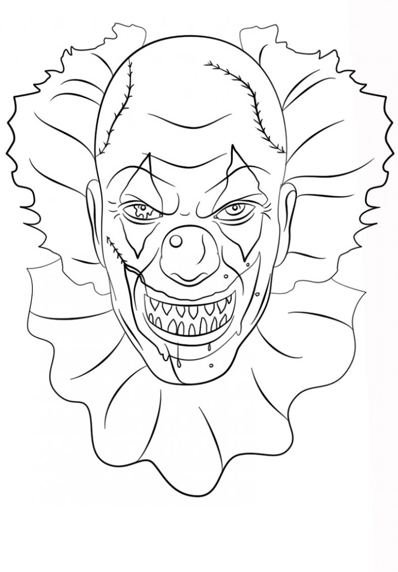Scary Clown Coloring Pages Free