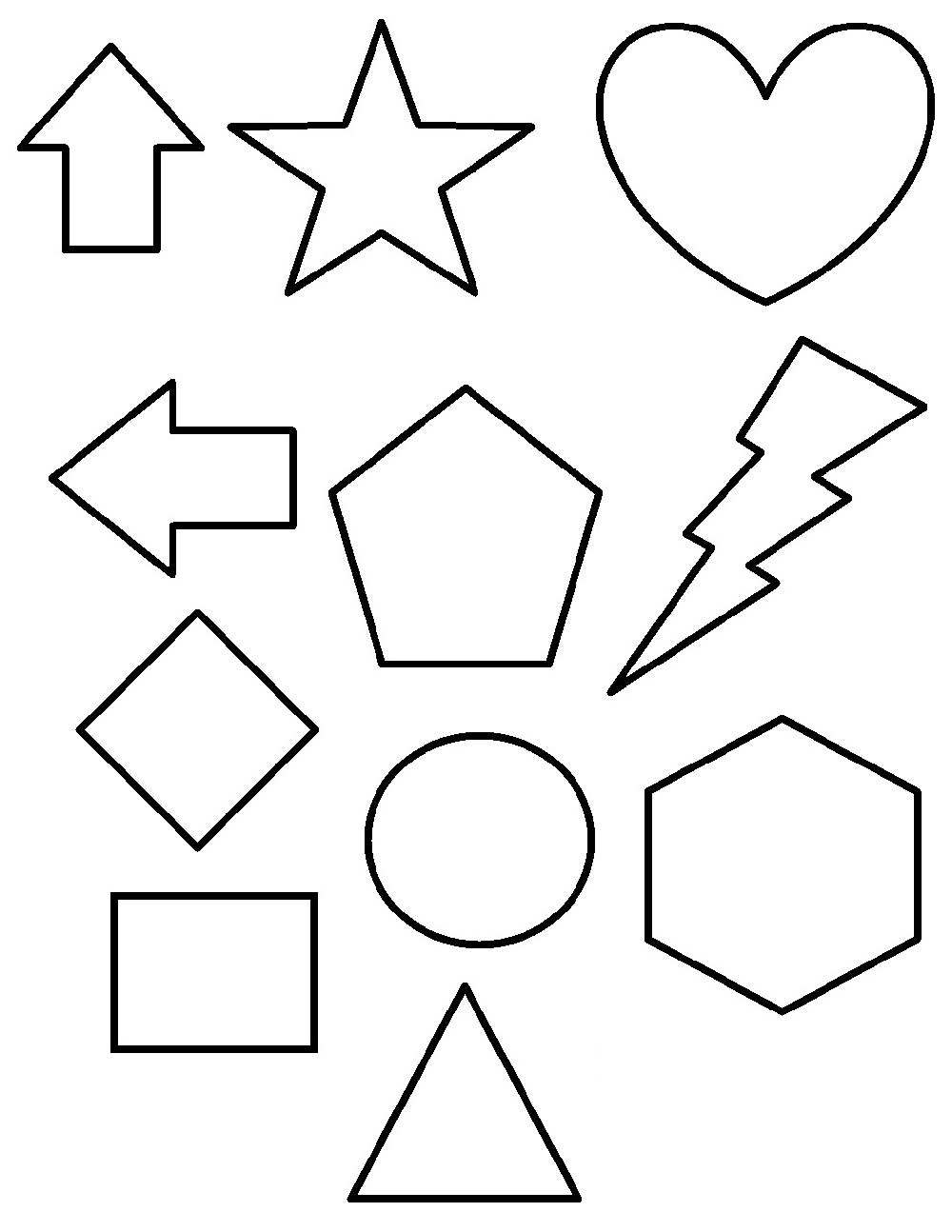 Shapes Coloring Pages Free