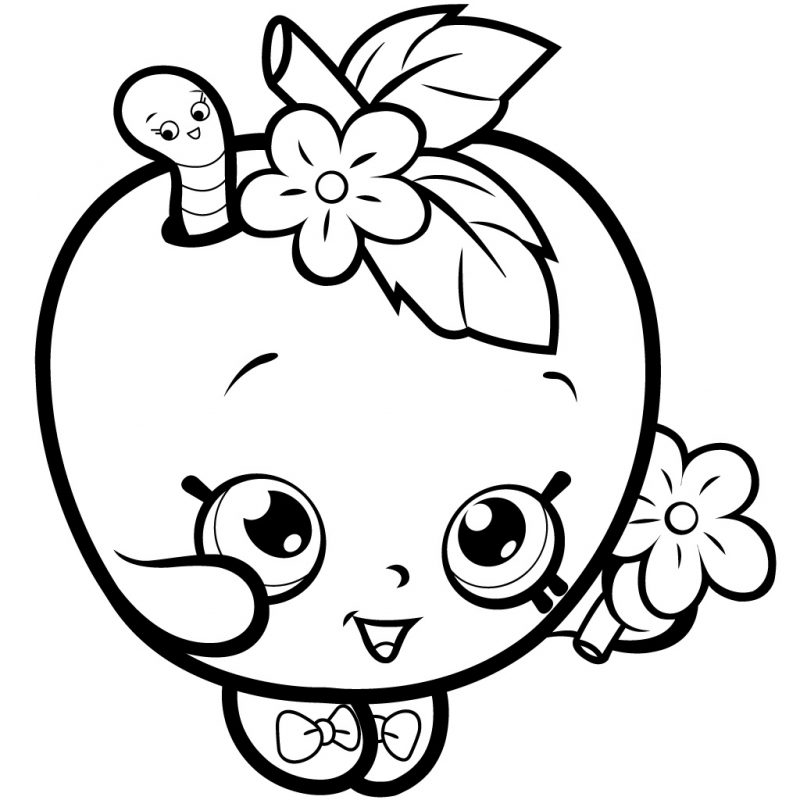 Shopkins Coloring Pages Apple Blossom | K5 Worksheets