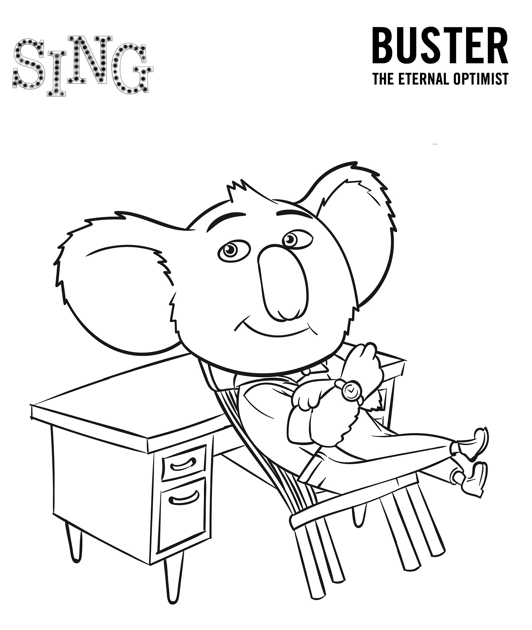 Sing Movie Coloring Page Buster
