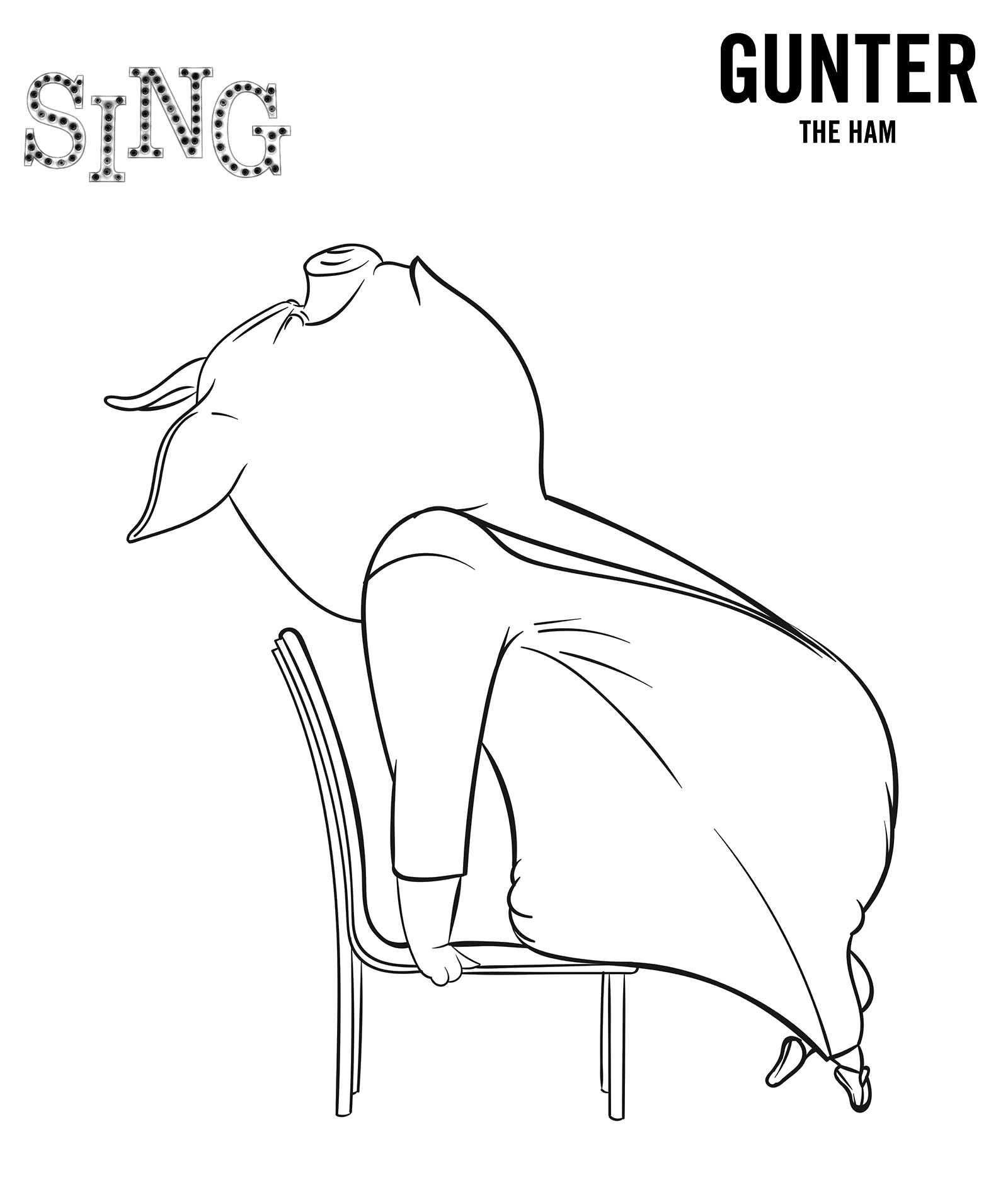Sing Movie Coloring Page Gunter