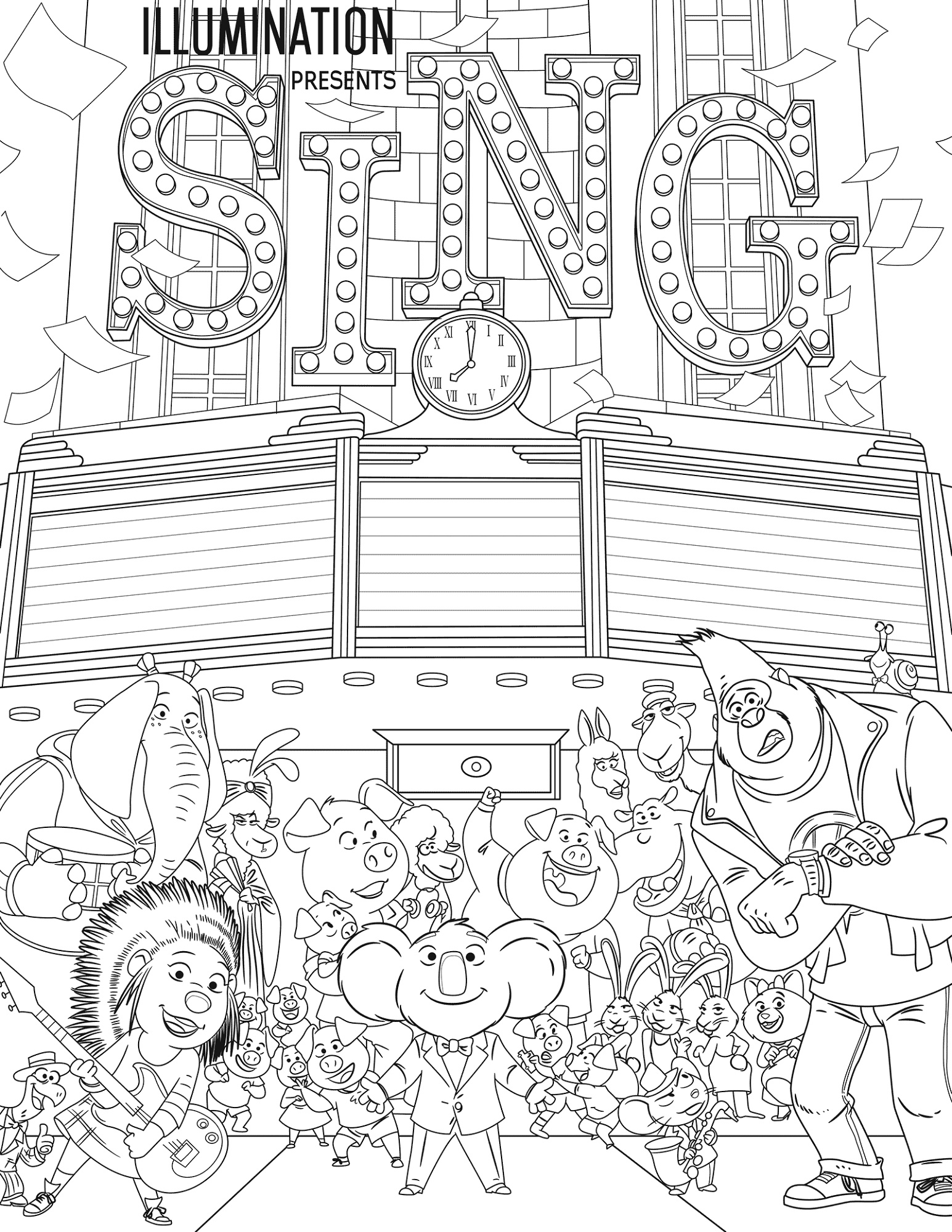 Sing Movie Coloring Page Printable