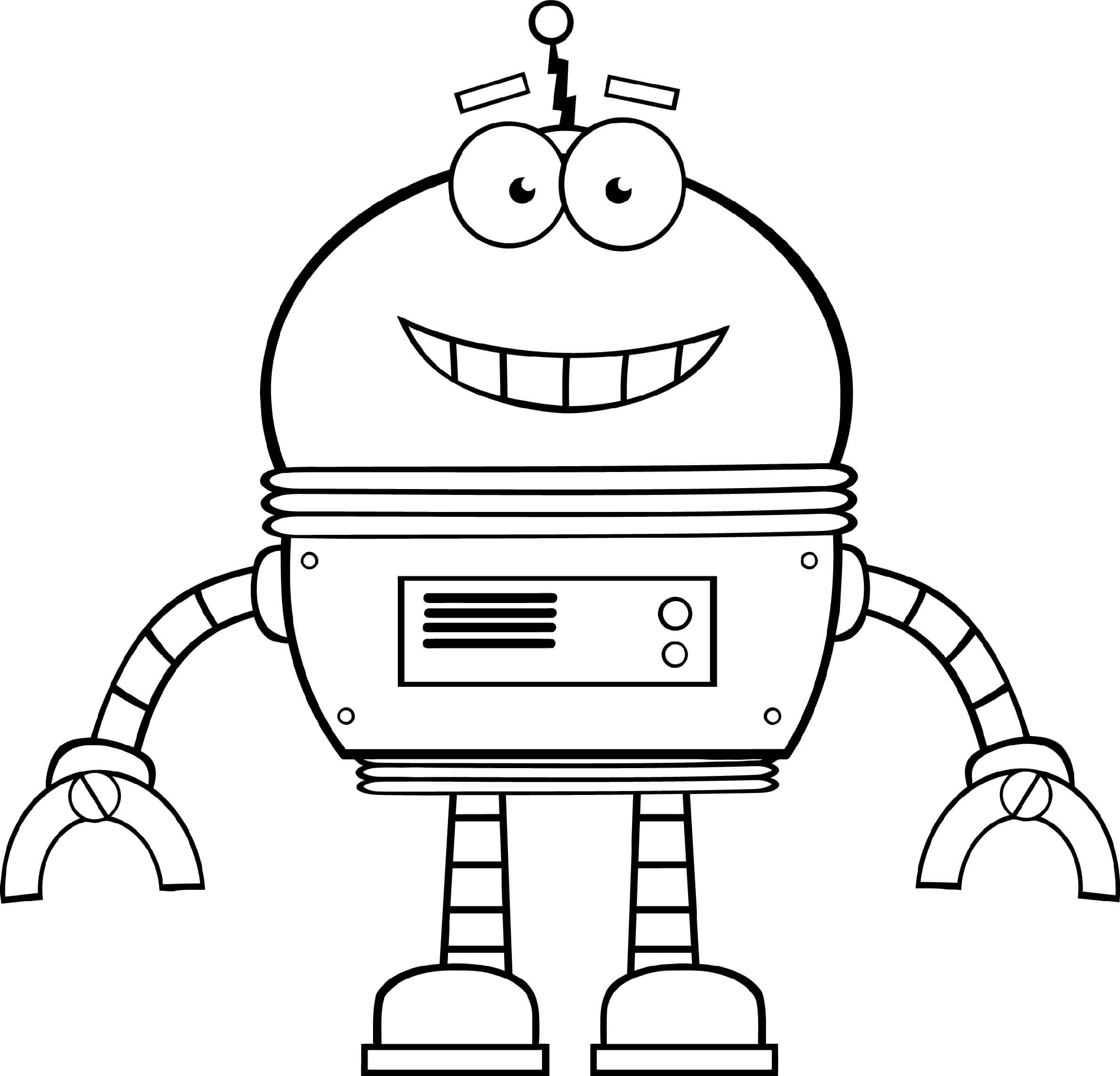 Smiling Robot Coloring Pages