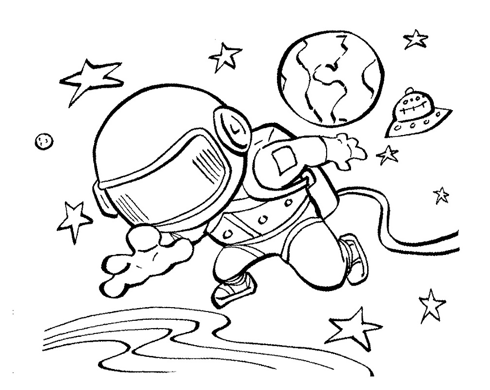 Space Coloring Pages Astronauts