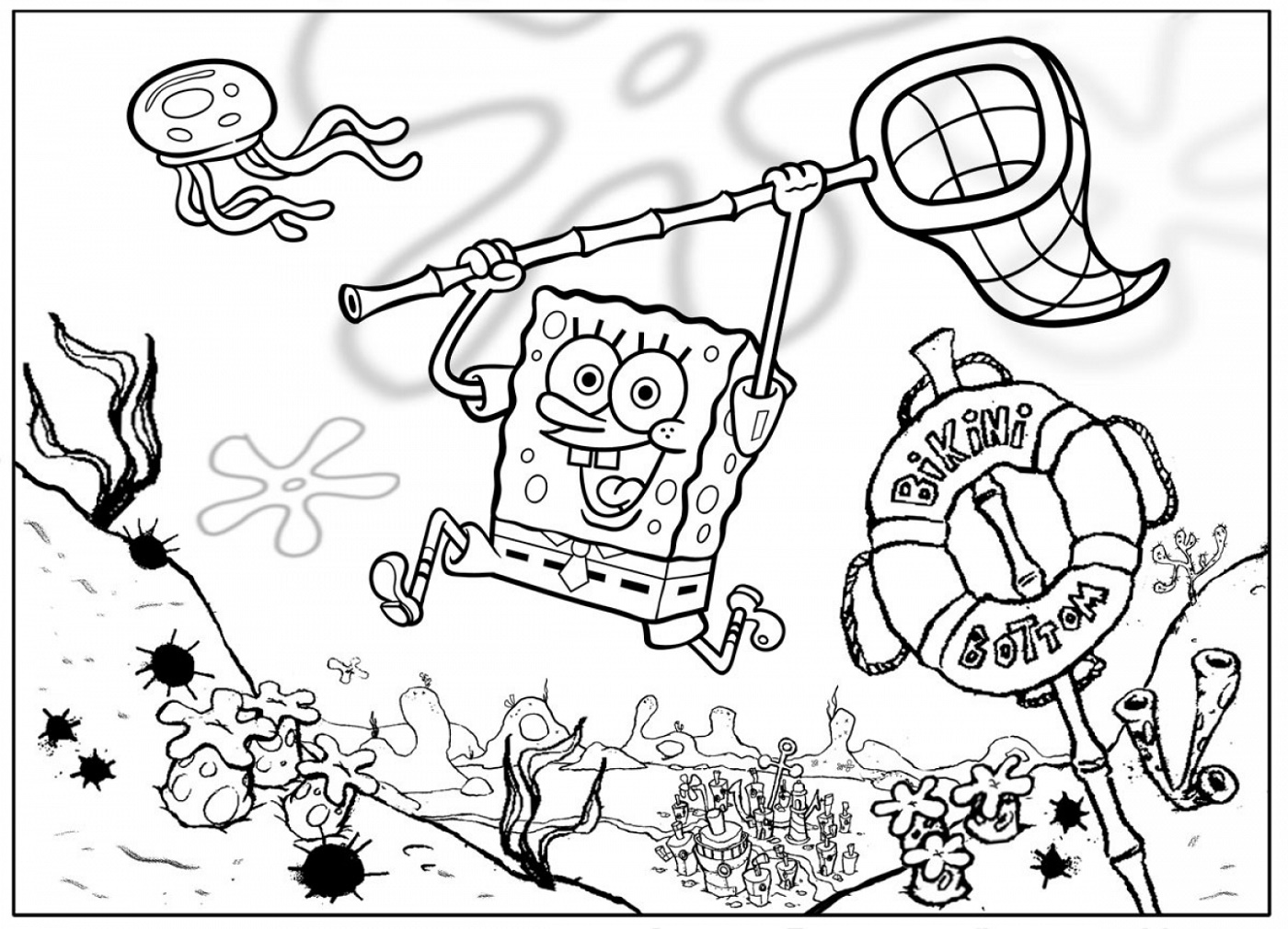 Spongebob Coloring Jellyfish Hunter