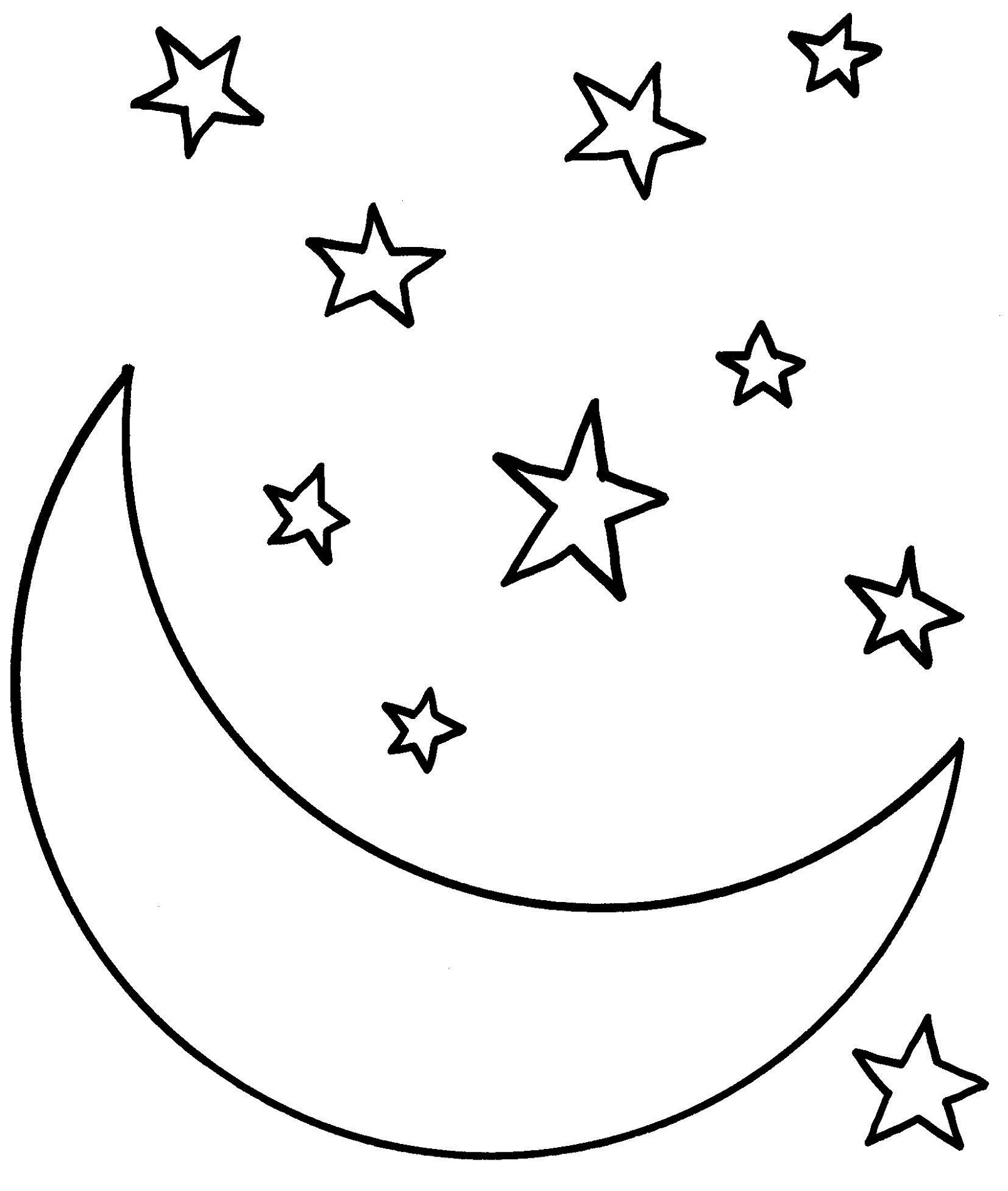 Star Coloring Pages And Moon