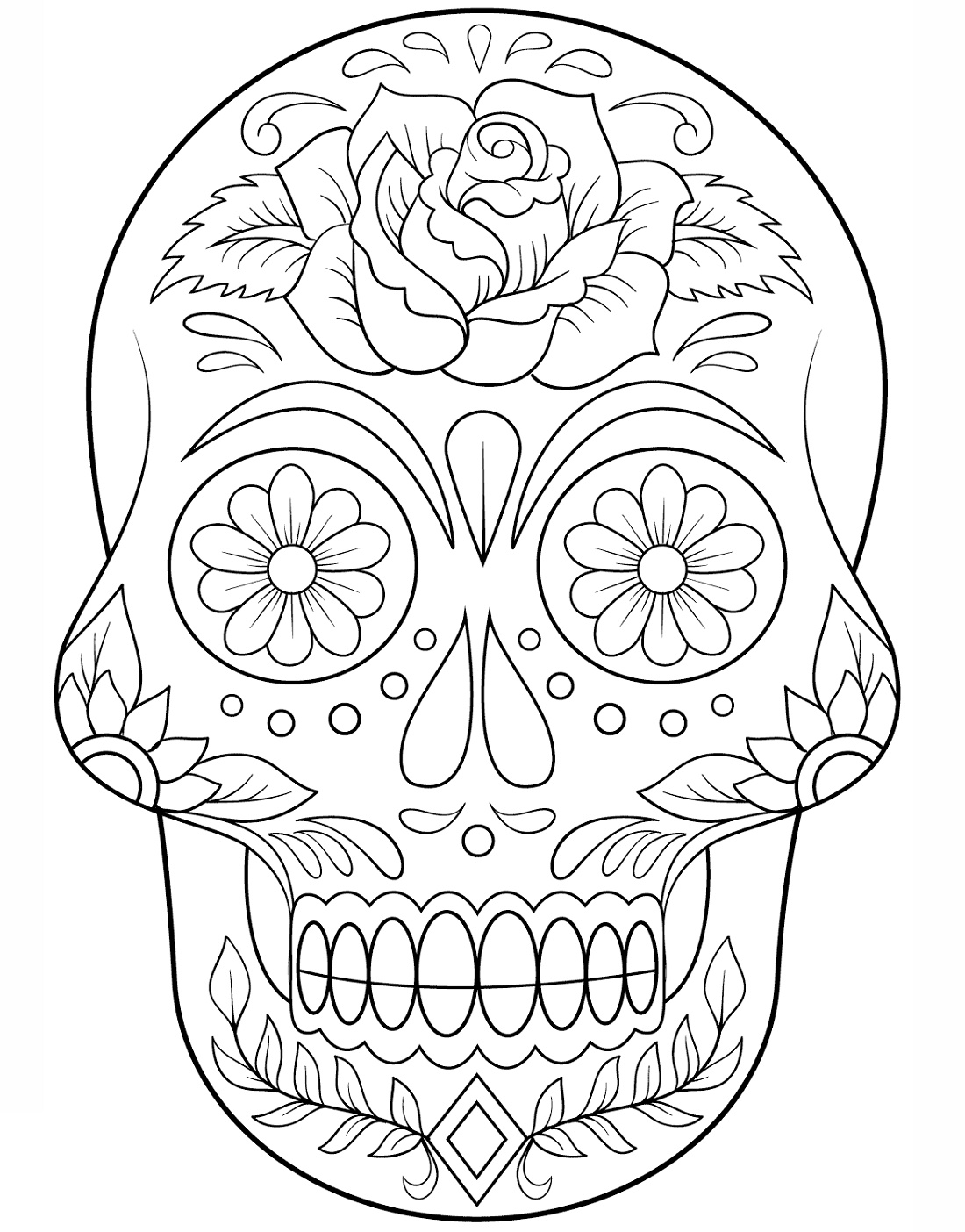 Sugar Skull Coloring Flower