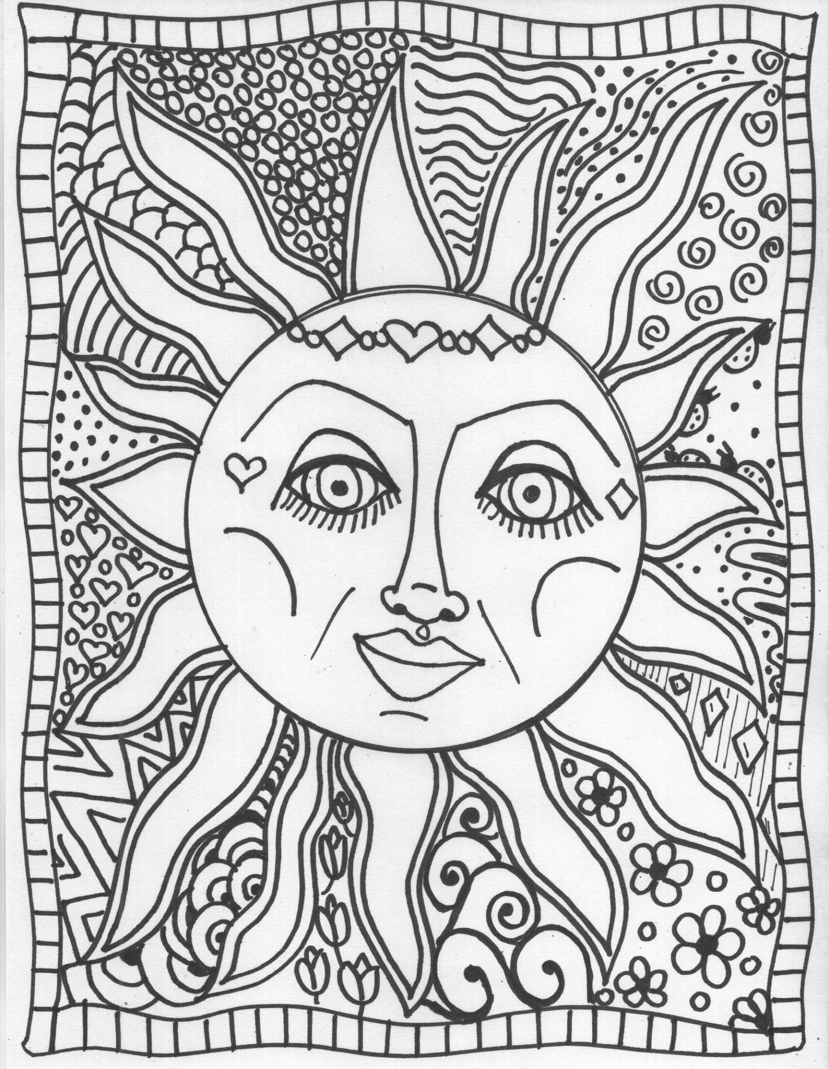 Sun Coloring Page For Adults