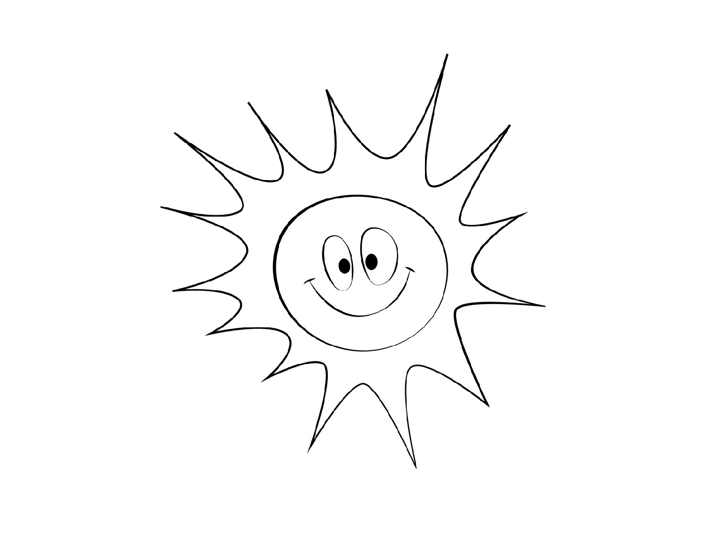Sun Coloring Page Smiling