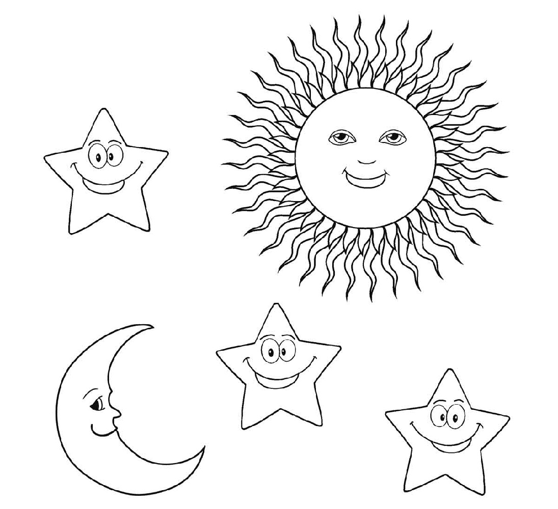 Sun Moon And Star Coloring