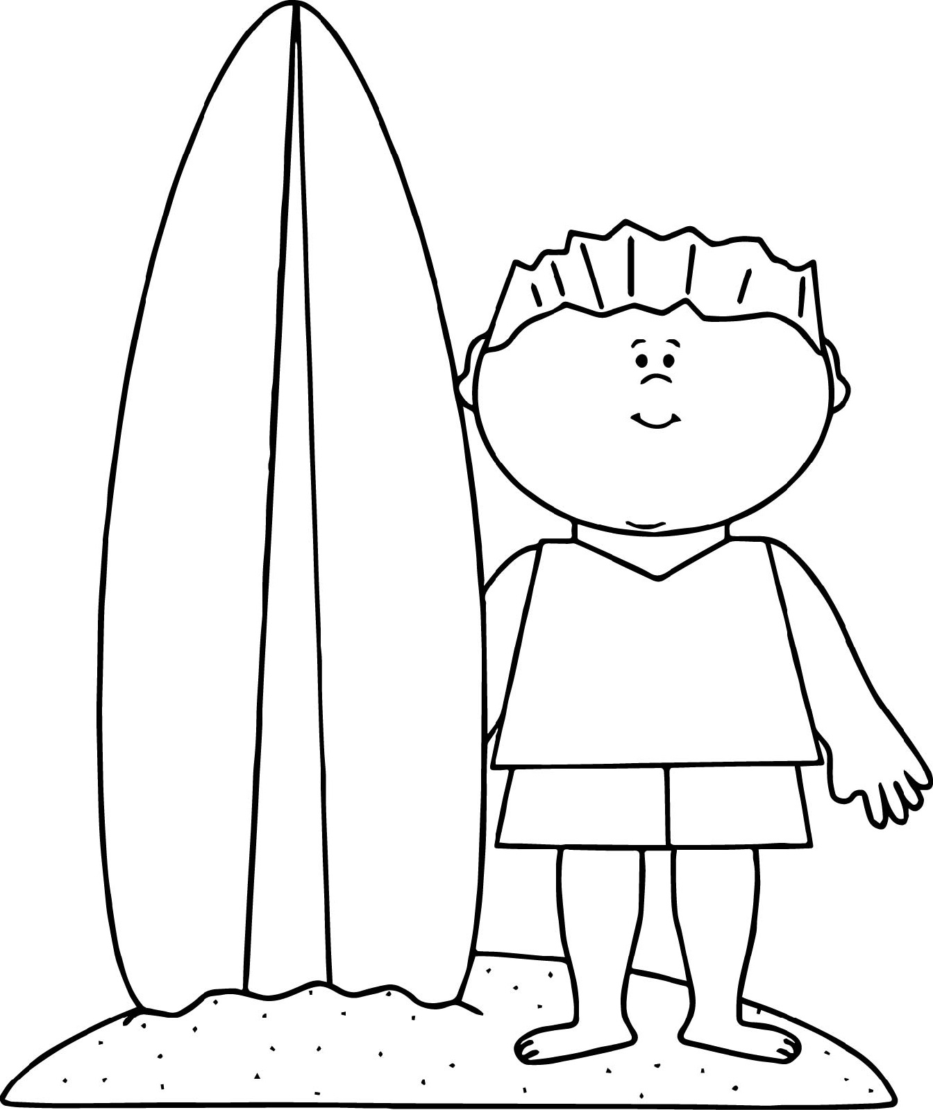 Surfboard Coloring Page Scene