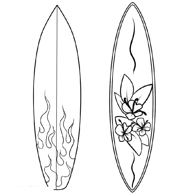 Surfboard Coloring Page To Print