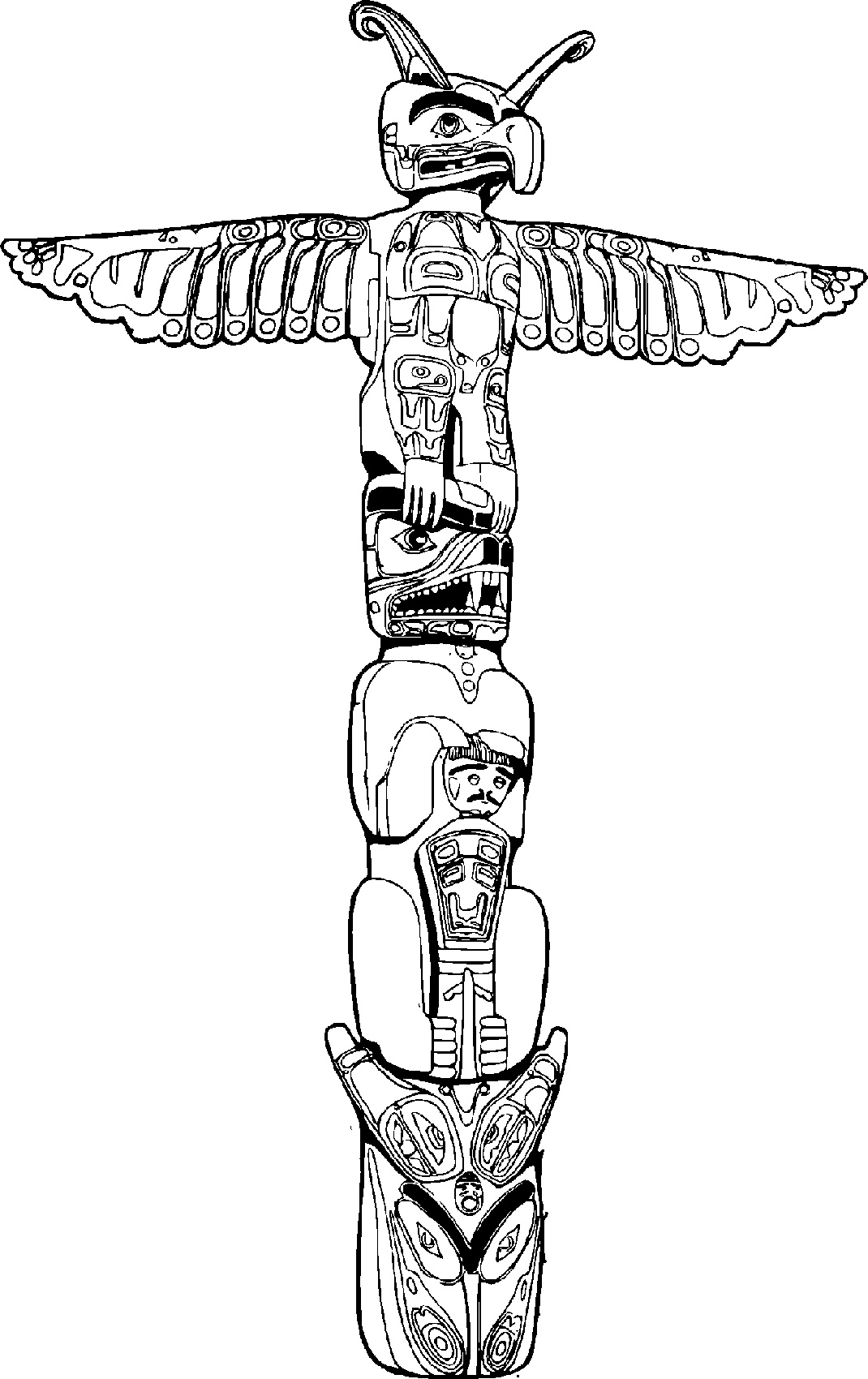 Totem Pole Coloring Pages For Adults