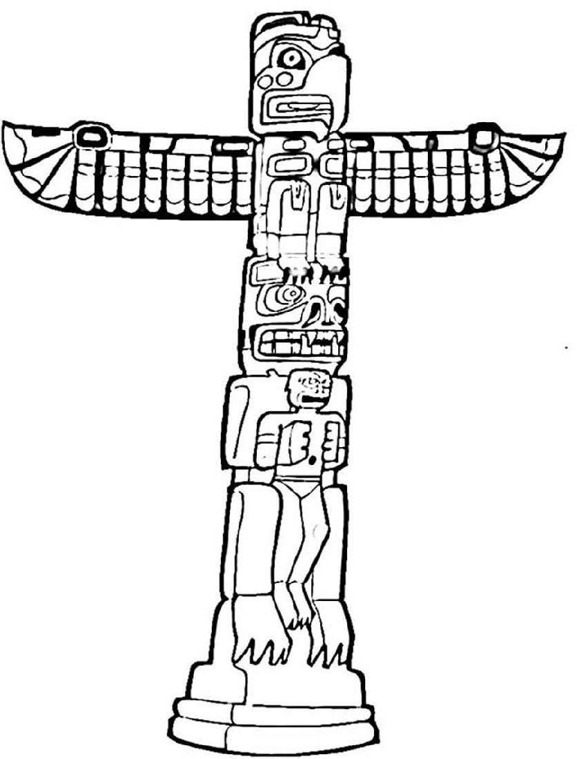 Totem Pole Coloring Pages For Kids