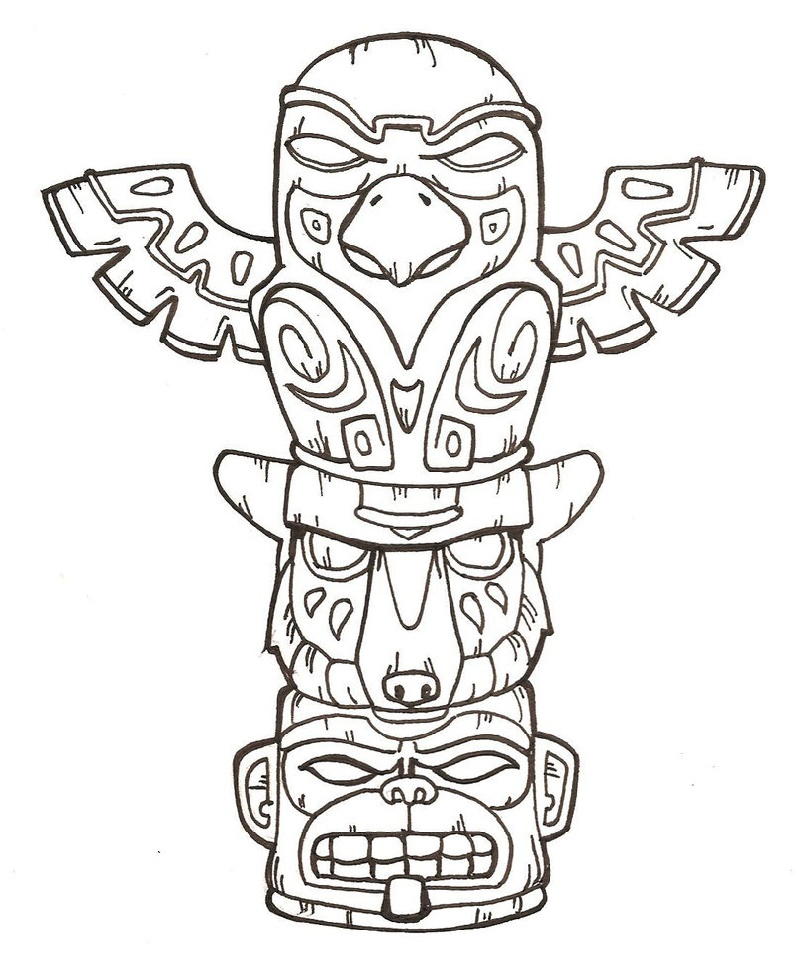 Totem Pole Coloring Pages Free