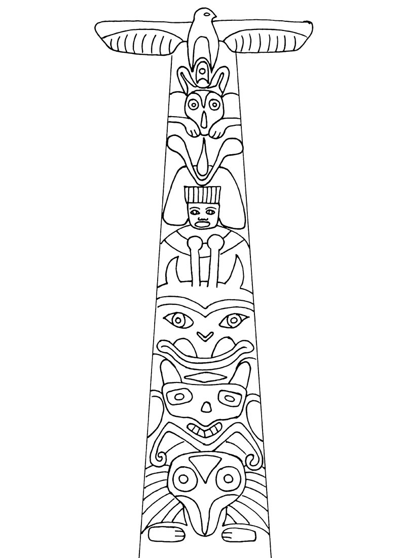 Totem Pole Coloring Pages Native American