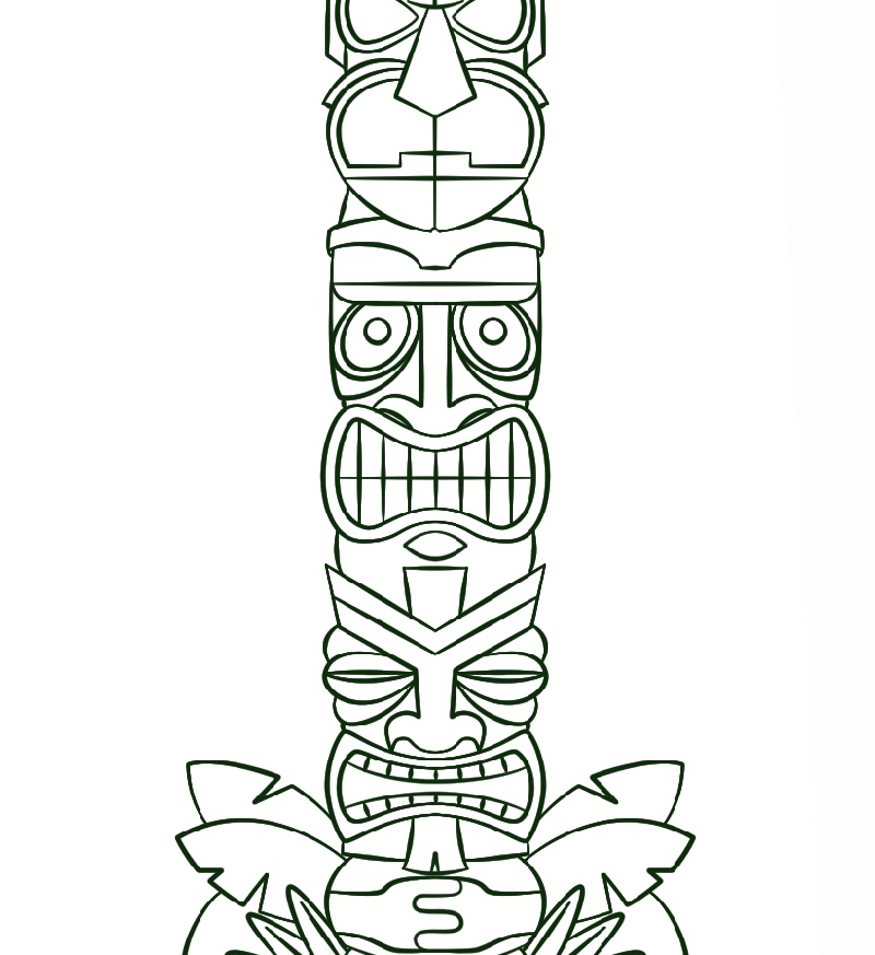 Totem Pole Coloring Pages Tiki Mask