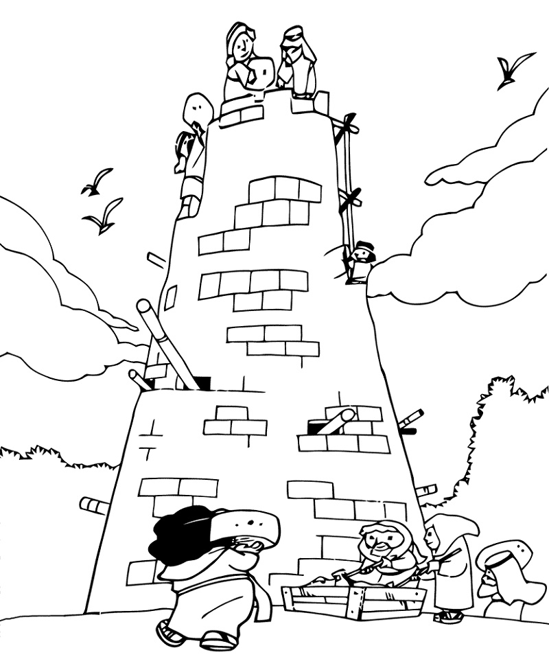 Tower Of Babel Coloring Page For Kids