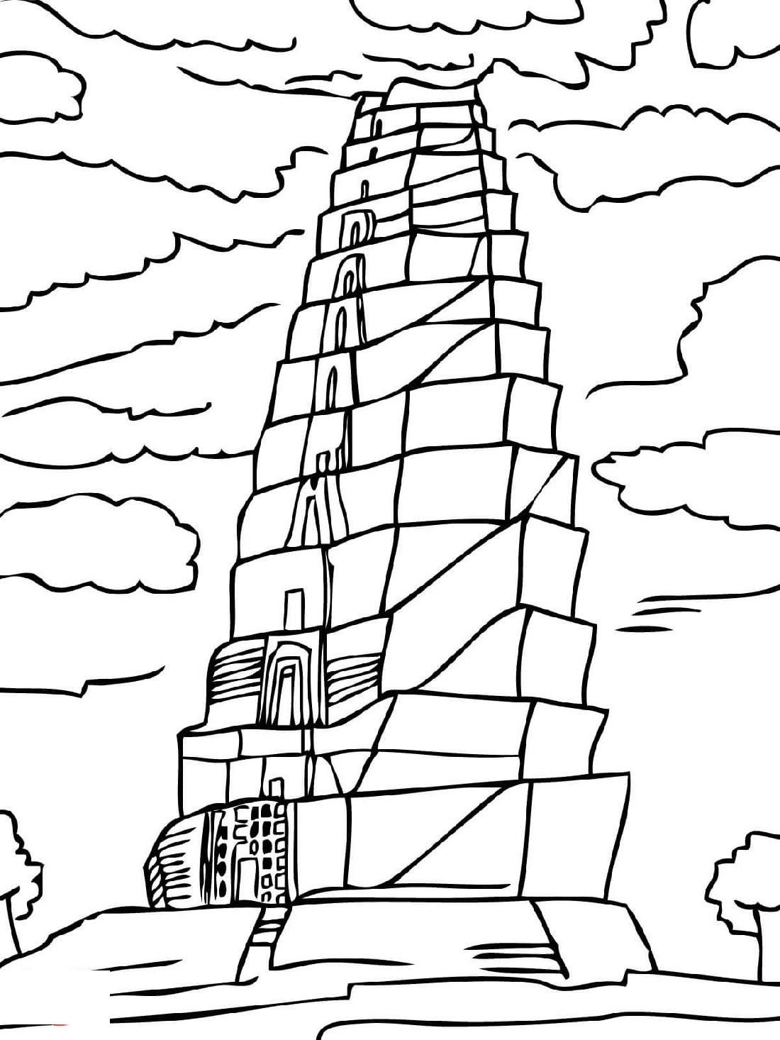Tower Of Babel Coloring Page Free