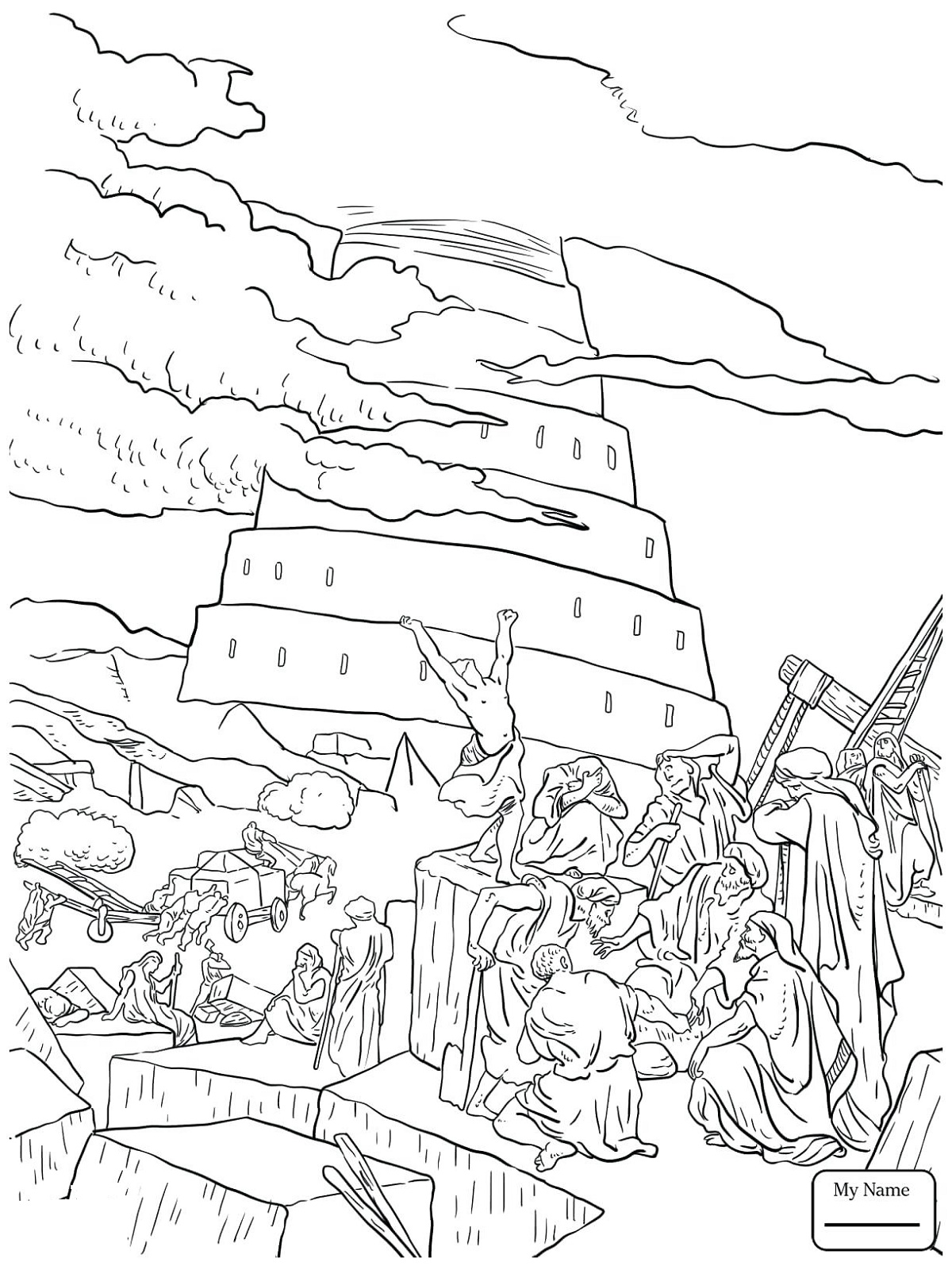 Tower Of Babel Coloring Page To Print