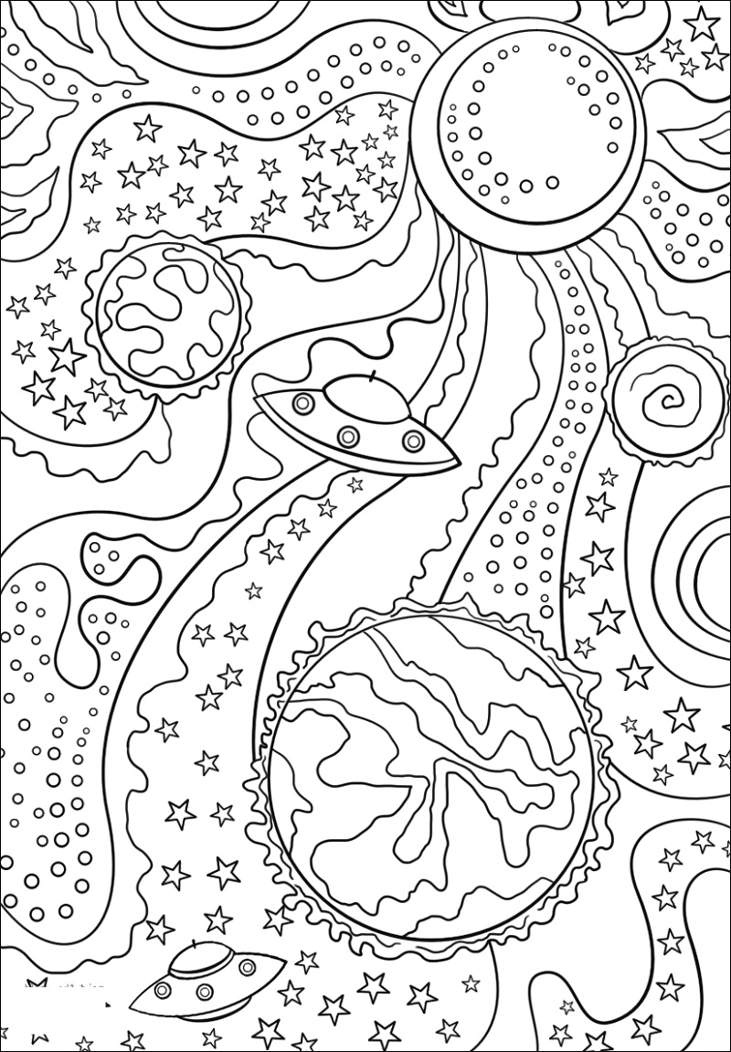 Trippy Space Coloring Pages