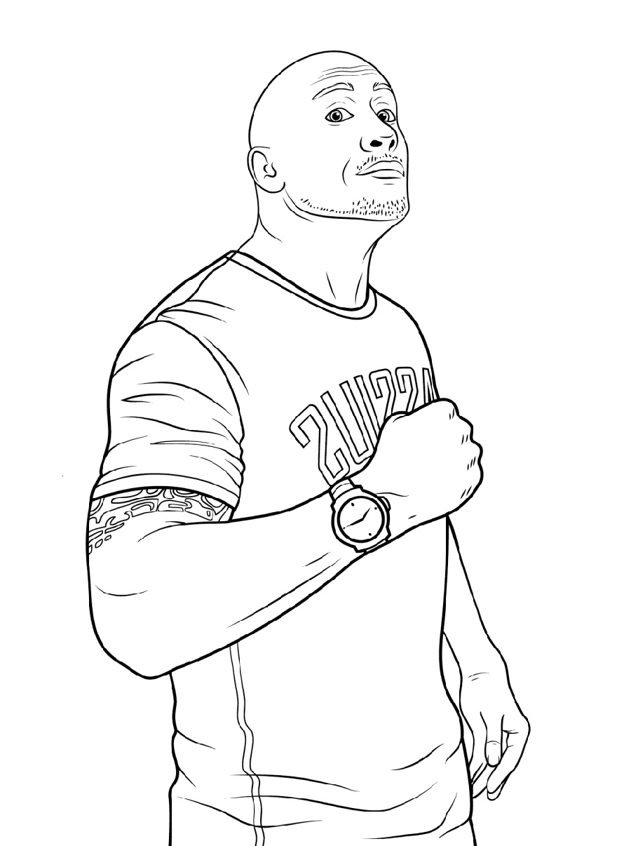 WWE Coloring Pages The Rock
