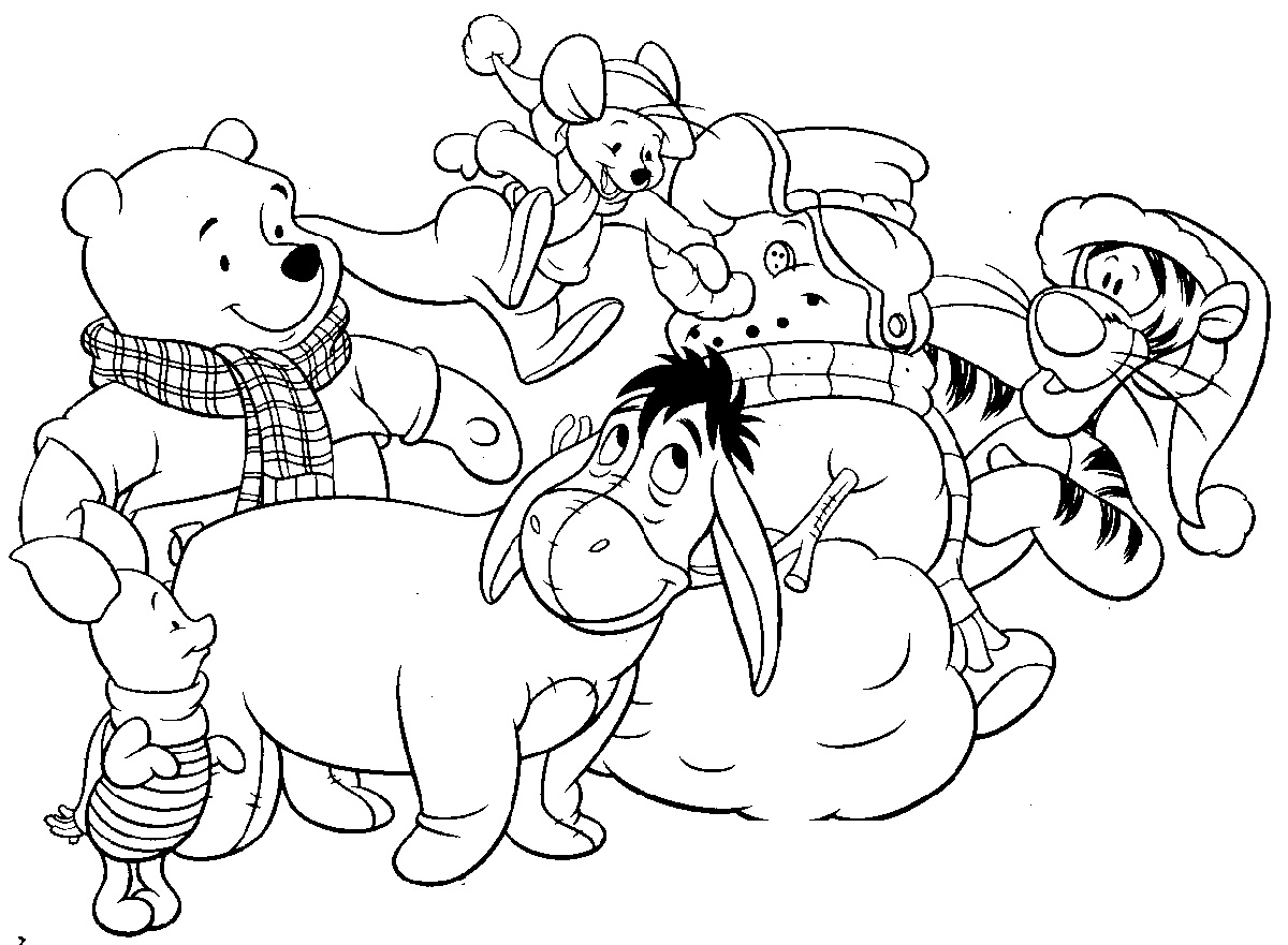 Winnie The Pooh Coloring Pages Christmas