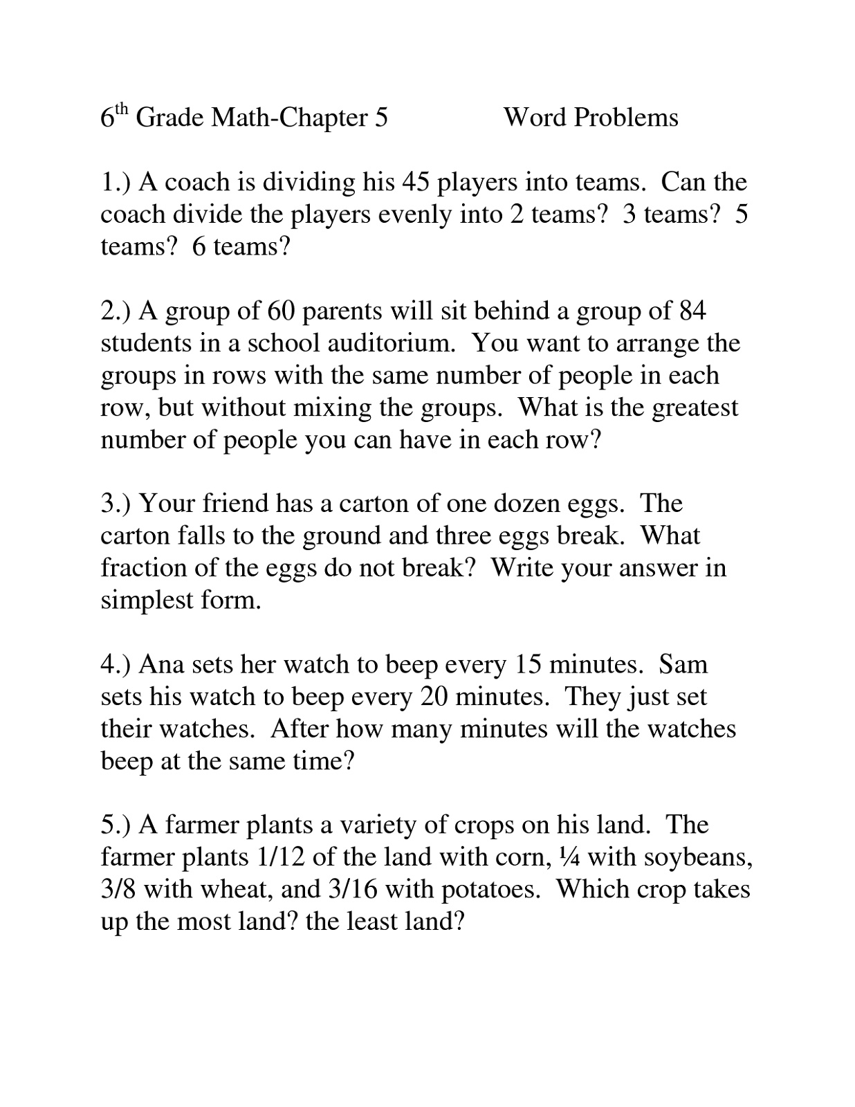 Word Problems Worksheets 6th Grade