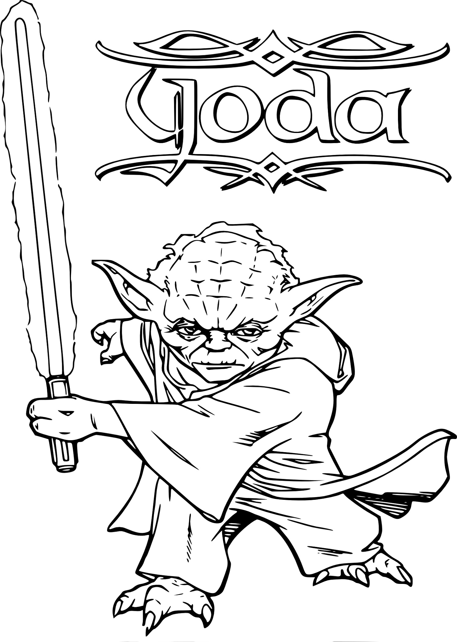 Yoda Coloring Pages With Lightsaber