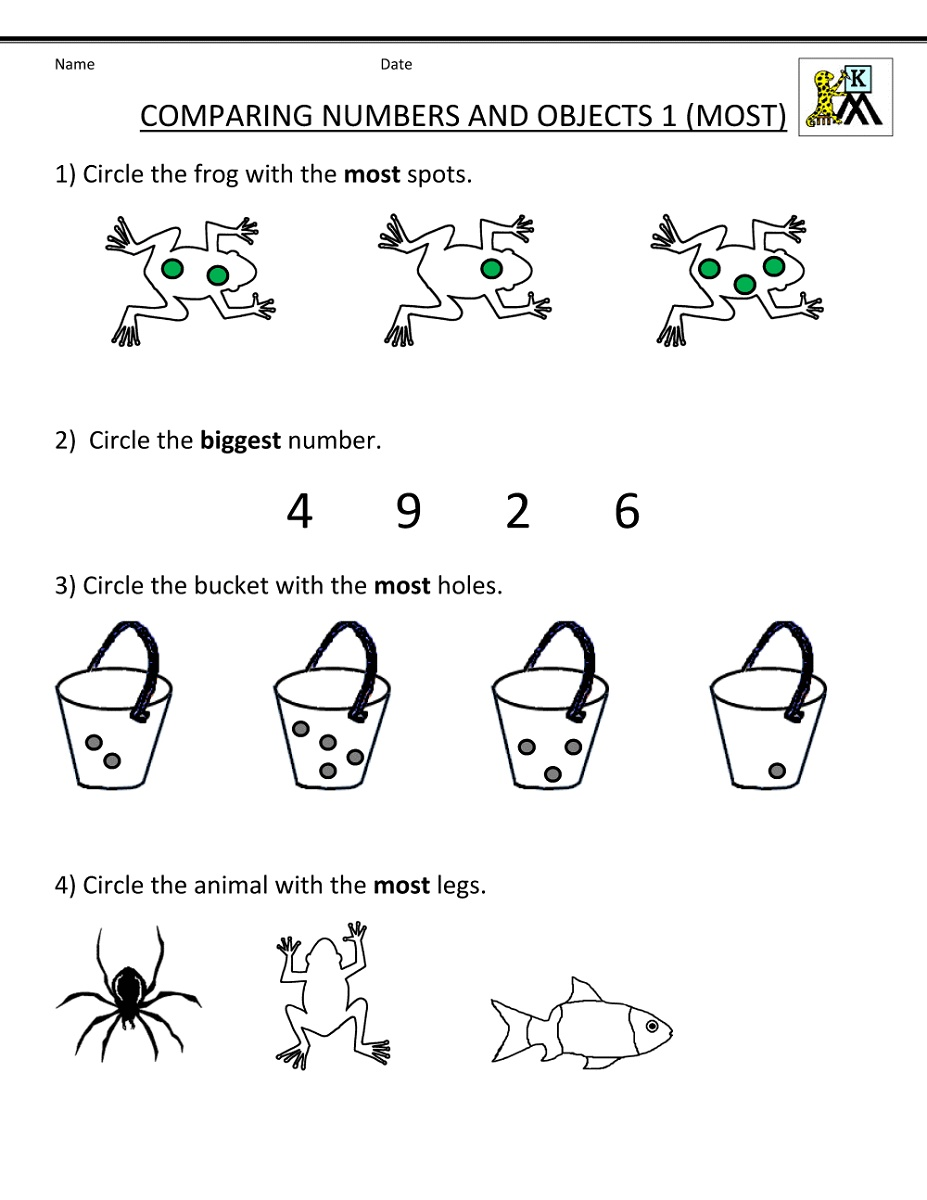 Free Kindergarten Math Worksheets Comparing Numbers