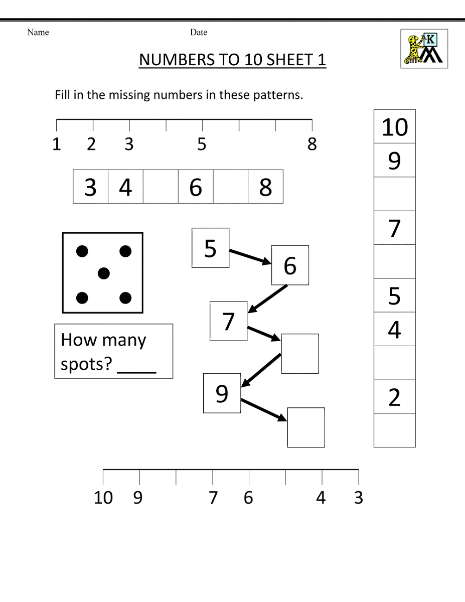 Free Kindergarten Math Worksheets Number