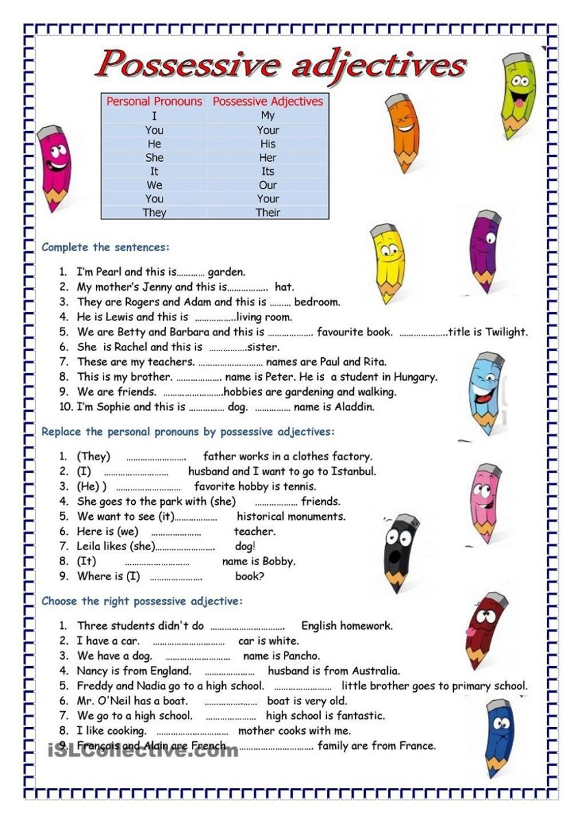 Free Printable English Worksheets Adjective