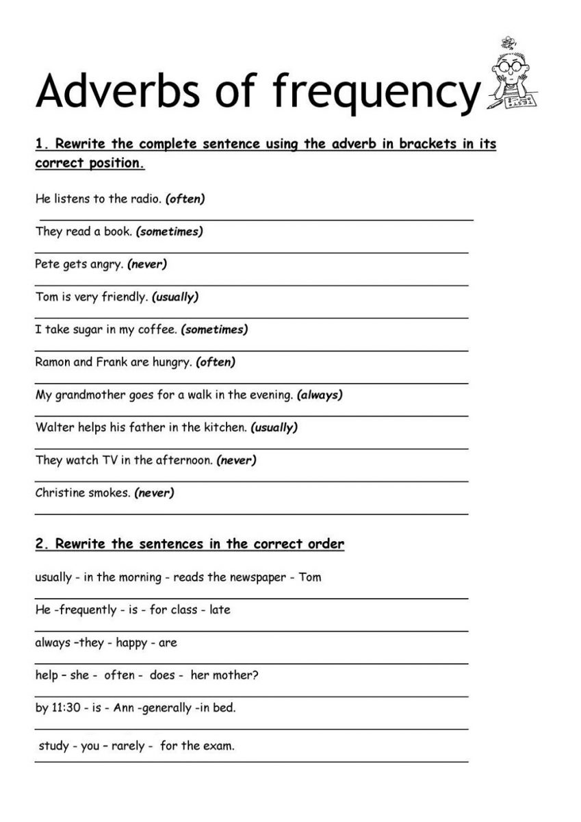 Free Printable English Worksheets Adverbs