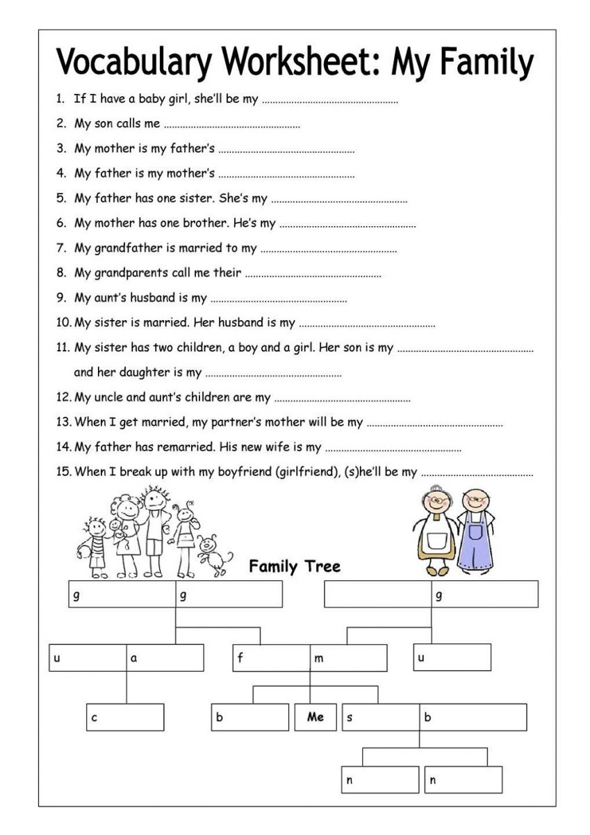 Free Printable English Worksheets Family